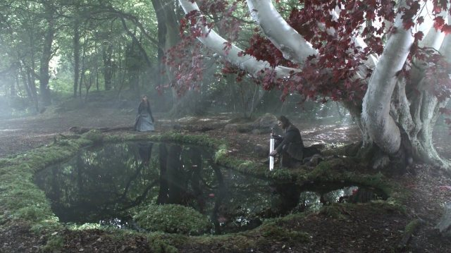 Ned Stark contemplating next to a Weirwood tree